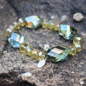 [5/$25] Yellow Green faceted bead bracelet